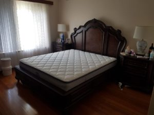 Our King size Divine Plus mattress with vintage hardwood bed frame